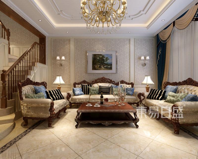 欧式一层客厅沙发背景墙效果图_装修效果图大全2018图片