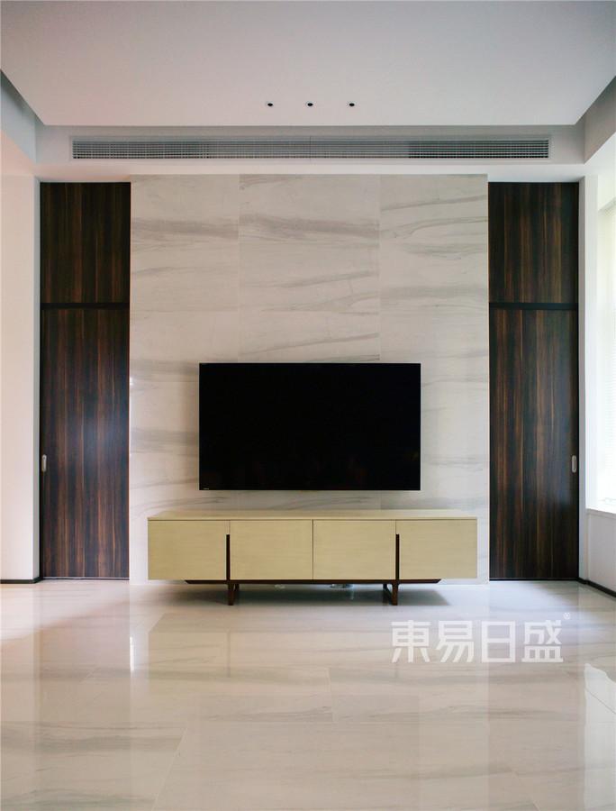 现代简约客厅背景墙 使用爵士白大理石效果图