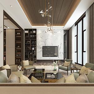 名门紫园现代新中式风格545㎡别墅