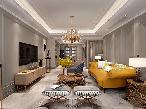 万达ONE 美式轻奢装修效果图 三室两厅148平米