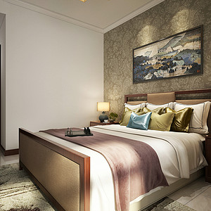 中式风格-卧室-装修效果图