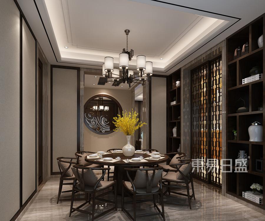 南浔自建房新中式风格餐厅效果图