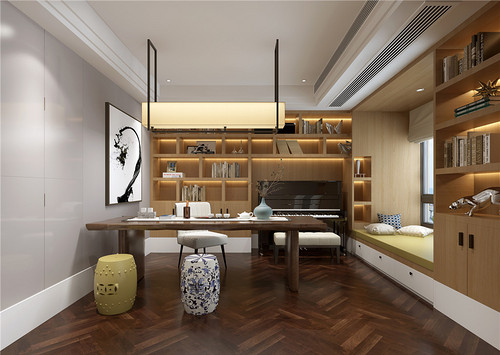 城市家园158平台式现代儒雅主义设计装修效果图