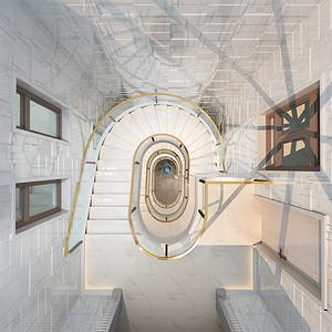 别墅-后现代风格-楼梯间俯视-效果图