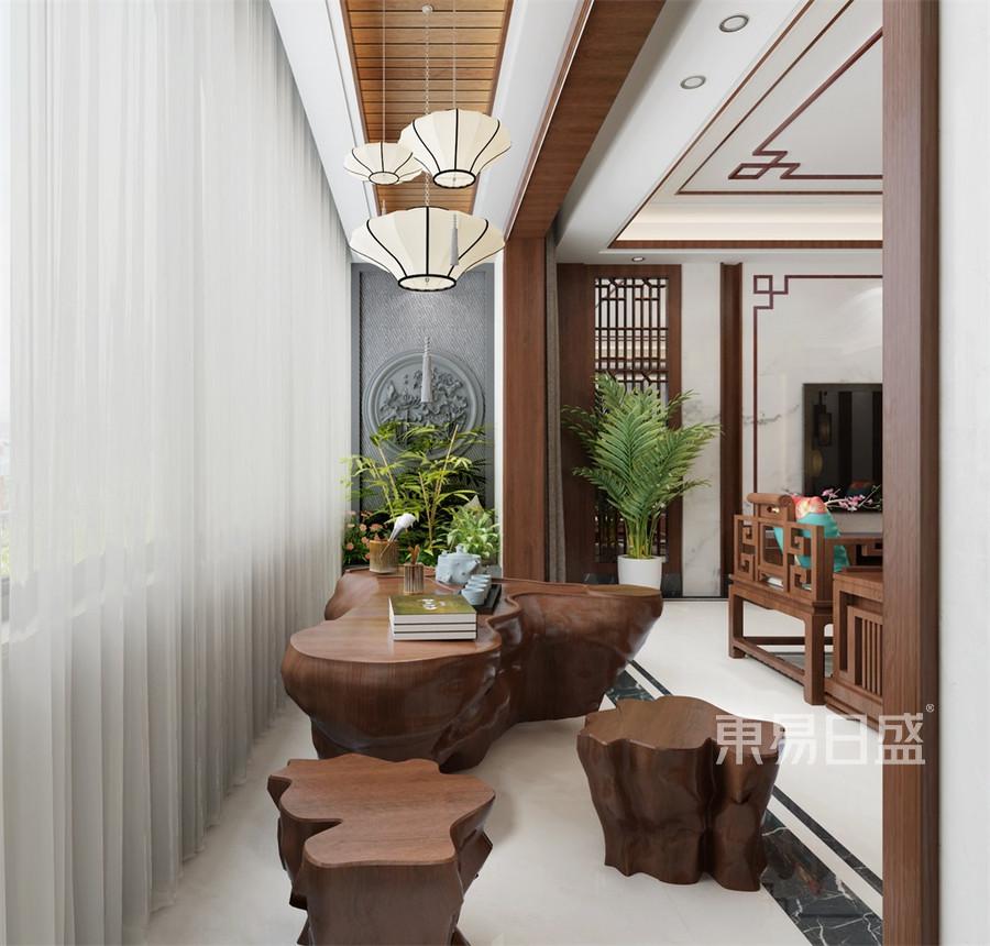 普通住宅-新中式-休闲阳台-效果图