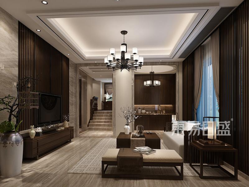 南浔自建房新中式风格客厅效果图