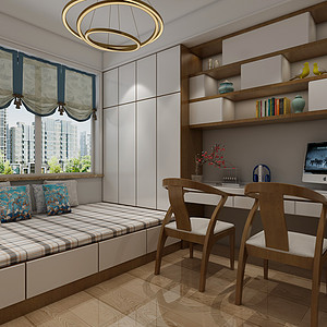 现代新中式风格-书房-装修效果图