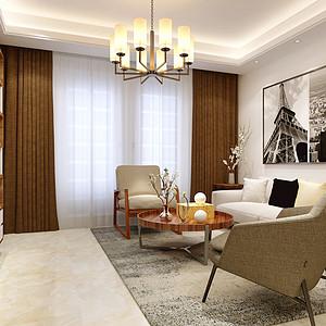 西班牙小镇110平米三室两厅现代简约风格装修效果图
