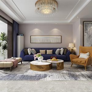 三居室-现代简约-客厅沙发背景墙-效果图