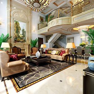欧式古典风格一楼客厅