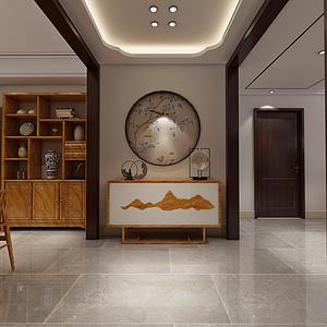 现代新中式风格-玄关-装修效果图