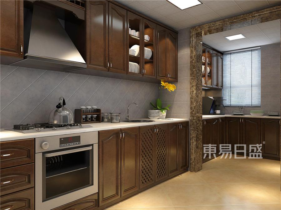 普通住宅-美式乡村-厨房效果图