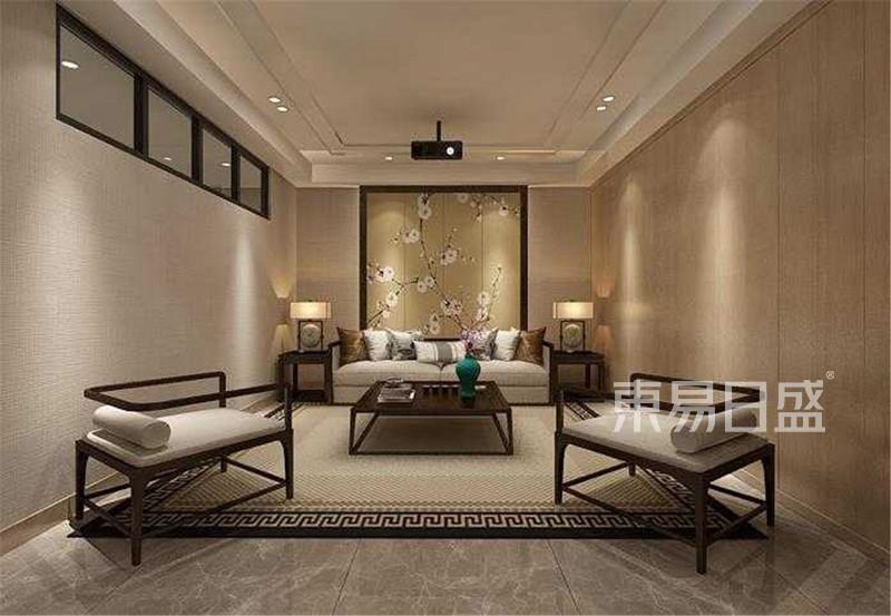 新中式 - 新中式客厅:木饰面硬包加上亚麻色墙纸图片