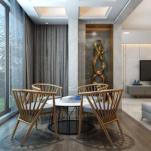 别墅-后现代风格-品茶区-效果图