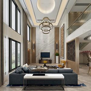 常平富盈加州阳光装修效果图-280㎡现代风格别墅装修案例