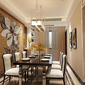 新古典餐厅:白色餐桌在周围嵌入了一圈