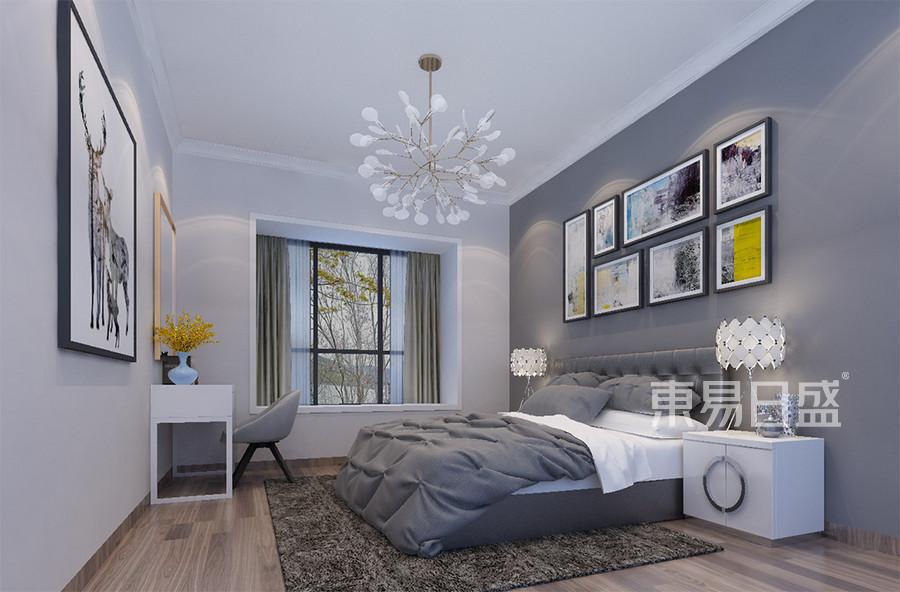 石排利丰中央公园现代简约卧室装修效果图