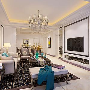 昆明滨江雅苑100平米二居室法式风格案列