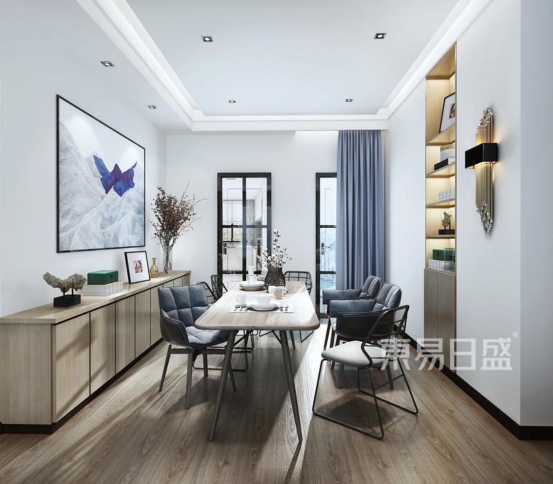 锦绣山河观园三房现代简约餐厅效果图