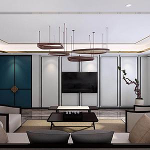 延长石油小区 新中式装修效果图 五室二厅 220㎡
