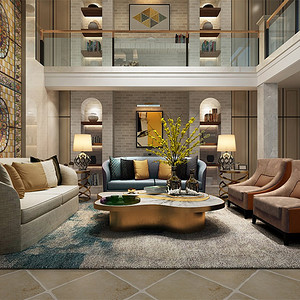 别墅-后现代风格-多功能厅-效果图