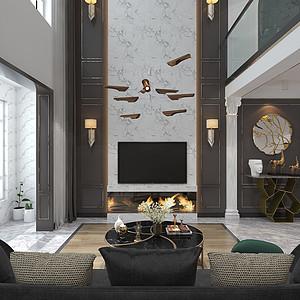 轻奢风格-客厅-装修效果图