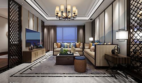 铂悦府-172平米-新中式风格-四居室装修案例效果图