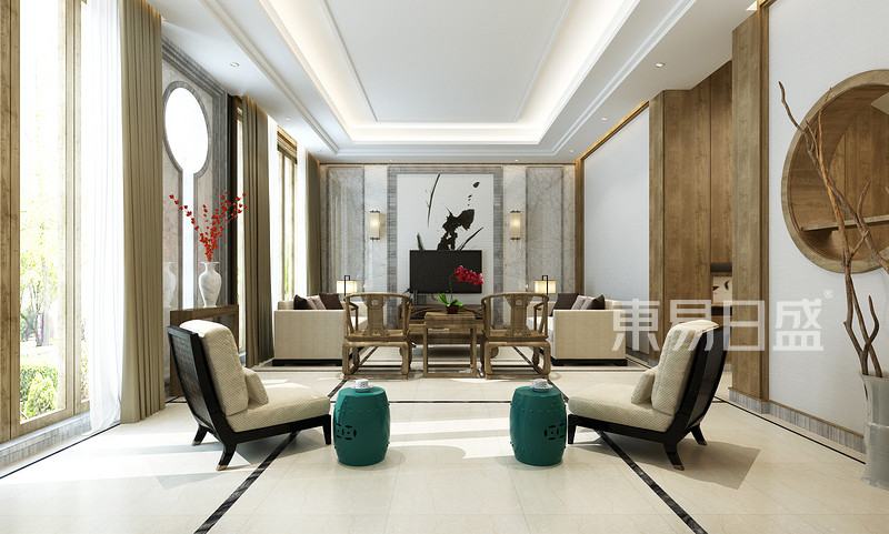 客厅新中式装修实景图自然,和谐之美