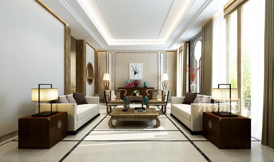 客厅新中式装修实景图格调高雅