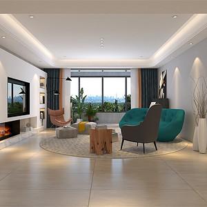 四居室-现代简约-客厅-效果图