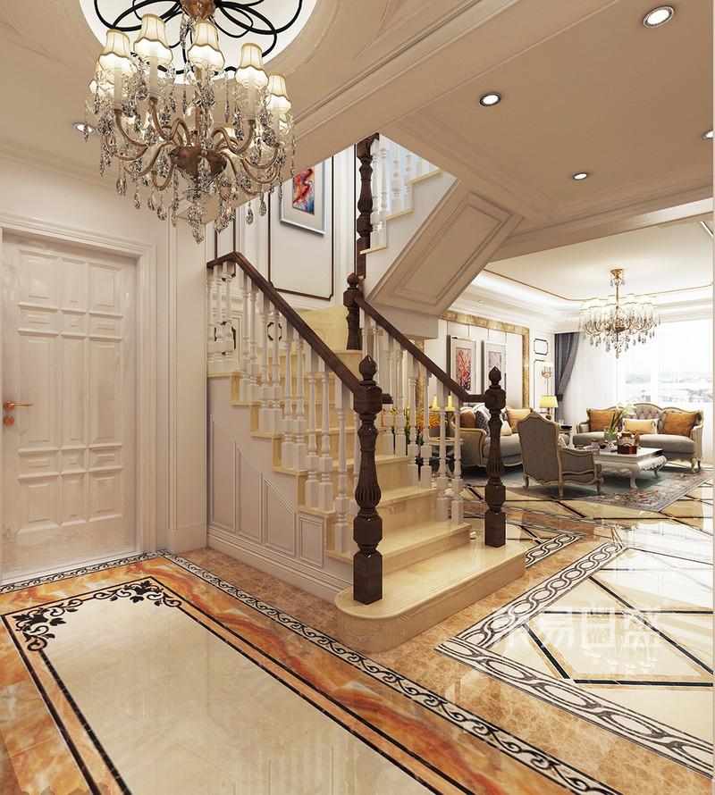欧式古典-楼梯效果图_装修效果图大全2018图片