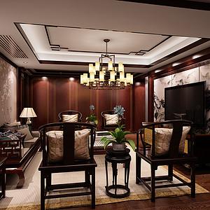 颐景园190平新中式风格装修案例