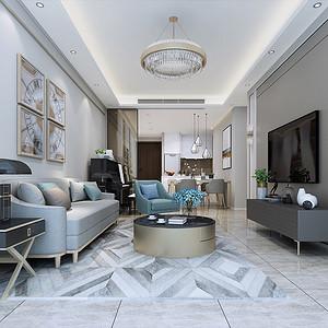 鼎峰尚境94㎡现代风格三房二厅-装修效果图