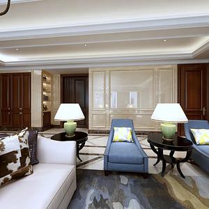 美式风格客厅+过道