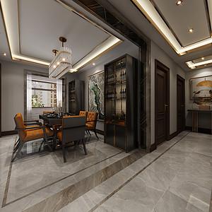 三居室-中式轻奢-效果图