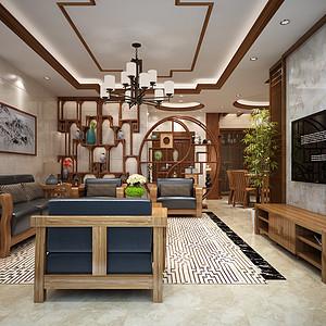 佛山江锦豪庭装修案例-150㎡新中式四房二厅装修效果图
