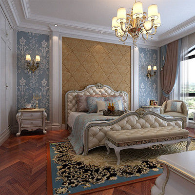 阳光翡丽湾300平米复式简欧卧室装修效果图