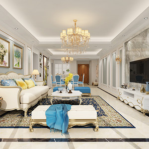 博林天瑞150平米简欧风格室内设计