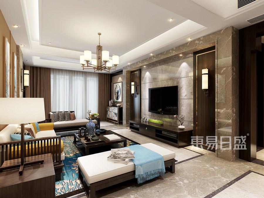 140㎡三居  新中式风格装修  主卧装修效果图 电视背景墙
