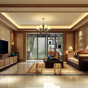 都铎城邦 新中式风格装修效果图 普通住宅 124㎡