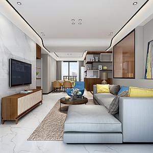道滘城南艺境装修效果图-120㎡现代简约三居室装修案例