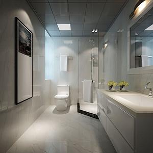 卫生间以白色瓷砖为主