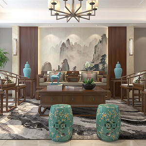 普通住宅-新中式-客厅沙发背景墙-效果图
