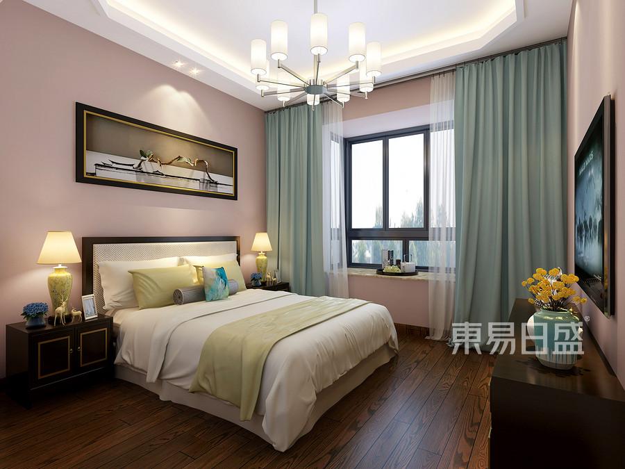 140㎡三居  新中式风格装修  次卧装修效果图