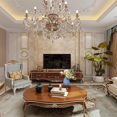 阳光翡丽湾300平米复式简欧客厅装修效果图
