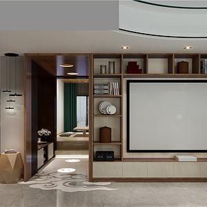 新中式客厅:电视背景墙与储物格相结合