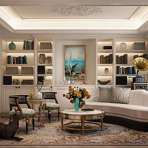 时代庄园 法式风格 起居室装饰图