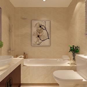 主卫:主卫门正对独立浴缸,形成入门后的视觉聚集点四居室-新中式-效果图