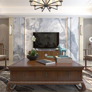 普通住宅-新中式-客厅电视背景墙-效果图