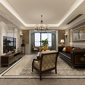 万达ONE 美式风格装修效果图 三室二厅 220平米